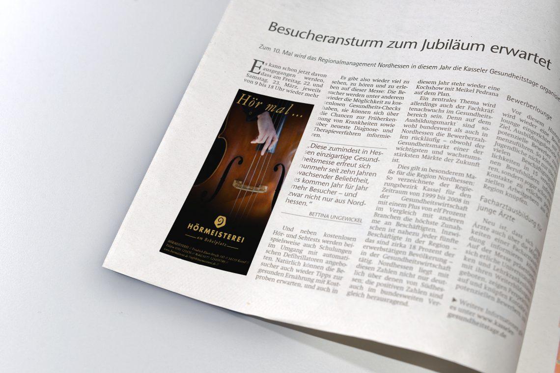 Hörmeisterei Kassel Zeitungsanzeige