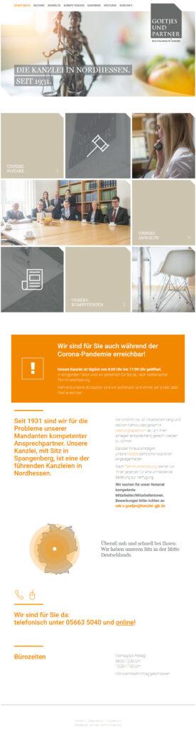 Goetjes und Partner Web Startseite